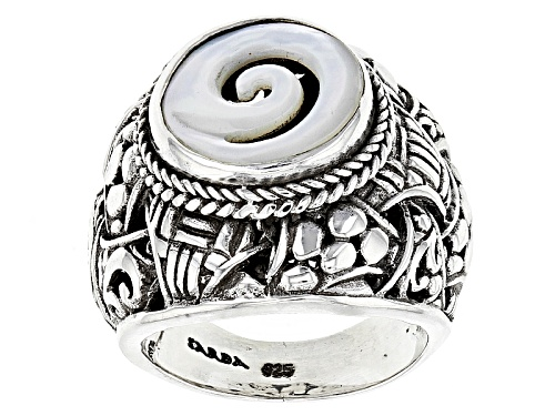 Photo of Artisan Gem Collection Of Bali™ 13mm Round Carved White Mother Of Pearl Silver Swirl Ring - Size 7