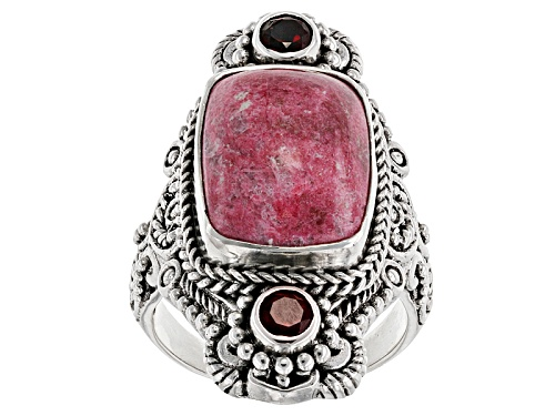 Photo of Artisan Gem Collection Of Bali™ 16x12mm Rectangular  Thulite And .50ctw Red Garnet Silver Ring - Size 5