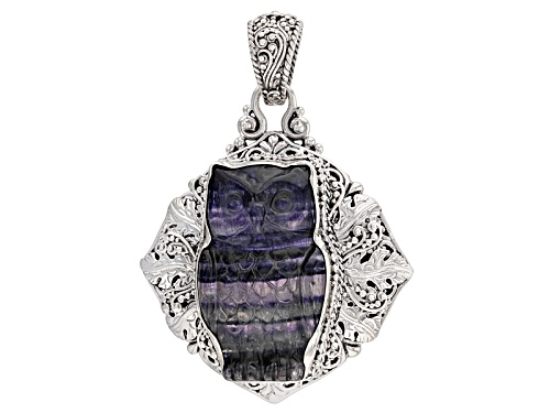 Artisan Gem Collection Of Bali™ 35x21mm Fancy Carved Puple Fluorite Owl Sterling Silver Pendant