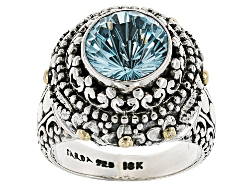 Photo of Artisan Gem Collection Of Bali™ 4.36ct Round Blue Topaz Silver With 18kt Yellow Gold Accent Ring - Size 12