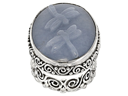 Photo of Artisan Gem Collection Of Bali™ 30x20mm Oval Carved Angelite Dragonflies Sterling Silver Ring - Size 6