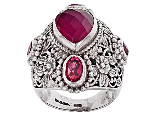 Photo of Artisan Gem Collection Of Bali™ Red Fuchsia Quartz Doublet And 2.16ctw Multi-Gem Silver Ring - Size 6