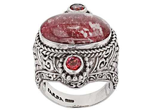 Photo of Artisan Gem Collection Of Bali™ Thulite And .88ctw Blessed™ Mystic Topaz® Silver Ring - Size 6