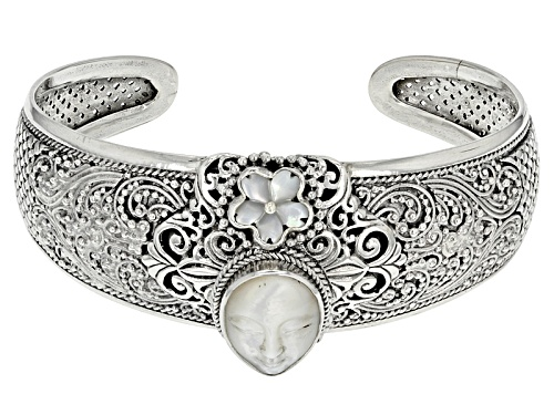 Photo of Artisan Collection Of Bali™ Carved White Mother Of Pearl Face And Flower Silver Cuff Bracelet