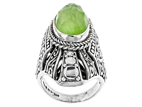 Photo of Artisan Gem Collection Of Bali™ 14x10mm Kiwi Green Mother Of Pearl Triplet Silver Solitaire Ring - Size 5