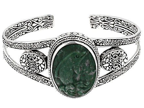 Photo of Artisan Gem Collection Of Bali™ 30x22mm Oval Carved Amazonite Dolphin Silver Cuff Bracelet