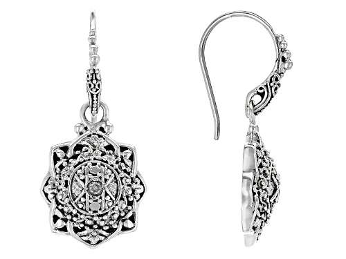 Photo of Artisan Collection Of Bali™ .08ctw Round White Two Diamond Accent Sterling Silver Dangle Earrings