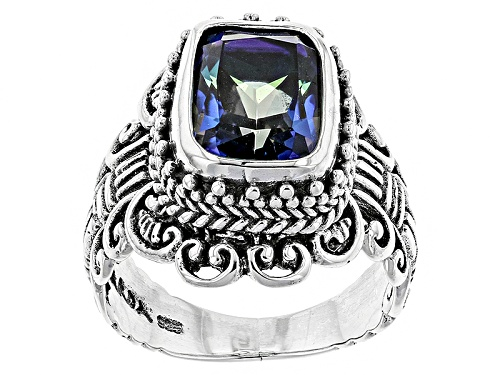 Photo of Artisan Collection Of Bali™ 3.95ct Rectangular Cushion Blue Mystic Quartz® Silver Ring - Size 8