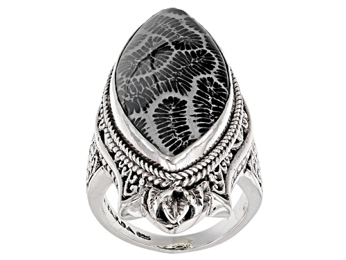 Photo of Artisan Gem Collection Of Bali™ 31x15mm Marquise Black Indonesian Coral Silver Ring - Size 6