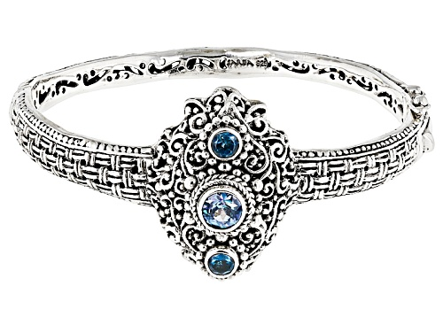 Photo of Artisan Of Bali™ 1.15ctw Rio Aqua™ Mystic Topaz® & London Blue Topaz Silver Bangle Bracelet