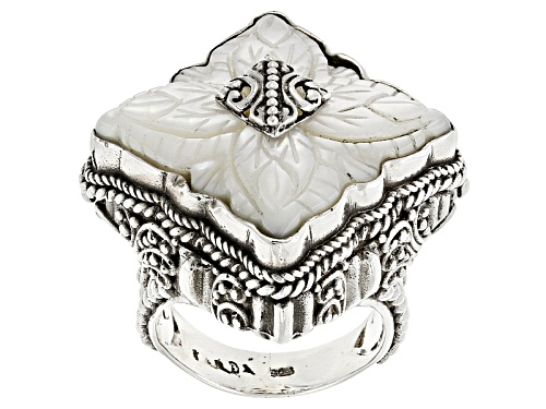 Photo of Artisan Collection Of Bali™ 20mm Carved Mother Of Pearl Flower Sterling Silver Filigree Ring - Size 12