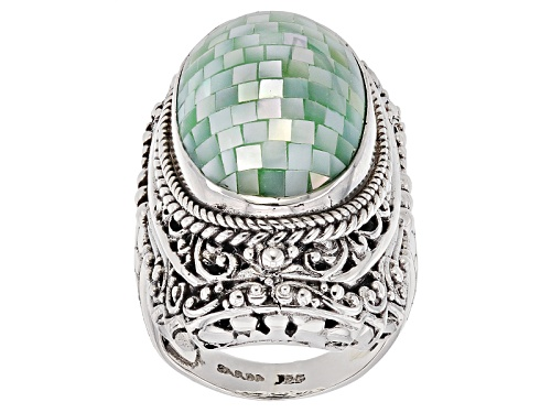 Photo of Artisan Collection Of Bali™ 24x15mm Oval Mosaic Green Mother Of Pearl Sterling Silver Ring - Size 5