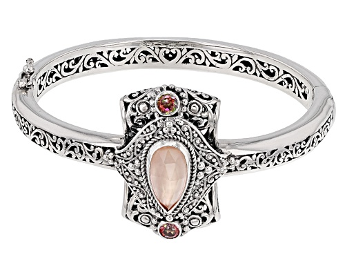 Photo of Artisan Collection Of Bali™Morganite Color Mother Of Pearl Triplet, Mystic Topaz® Silver Bangle