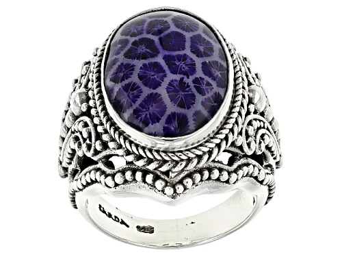 Photo of Artisan Collection Of Bali™ 20x14mm Oval Purple Indonesian Coral Silver Solitaire Ring - Size 12