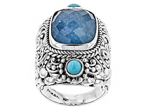 Photo of Artisan Collection Of Bali™ Blue Quartz Doublet And Turquoise Silver Ring - Size 6