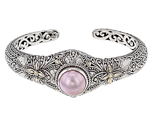 Photo of Artisan Collection Of Bali™ 13mm Round Cultured Pink Mabe Pearl Silver With 18k Gold Accent Cuff