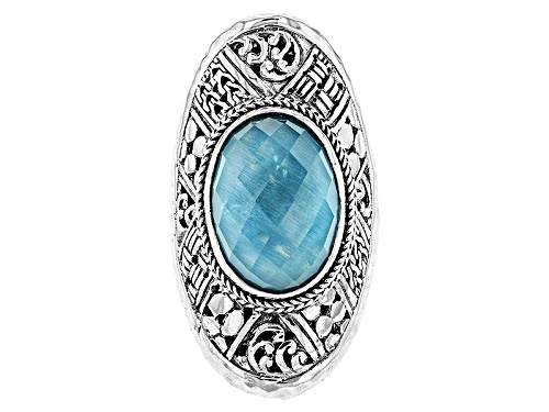 Photo of Artisan Collection Of Bali™ 18x13mm Oval Paraiba Color Quartz Triplet Silver Solitaire Ring - Size 5