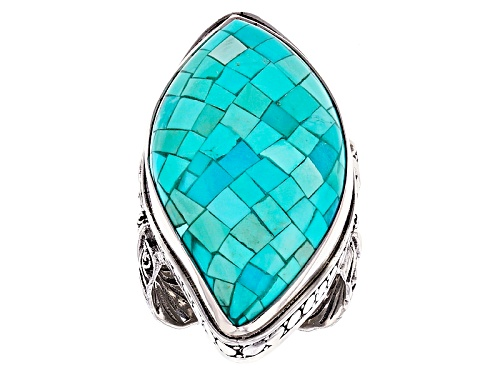 Photo of Artisan Collection Of Bali™ 32x18mm Mosaic Turquoise Solitaire Sterling Silver Feather Ring - Size 6