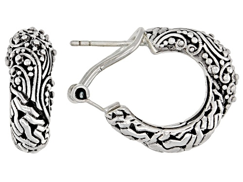 Artisan Collection Of Bali™ Sterling Silver Mixed Filigree and Chain Link Design Hoop Earrings