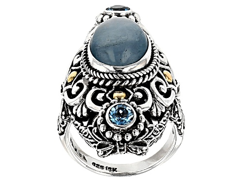 Photo of Artisan Collection Of Bali™ Milky Aquamarine, .60ctw Swiss Blue Topaz Silver & 18k Gold Ring - Size 12