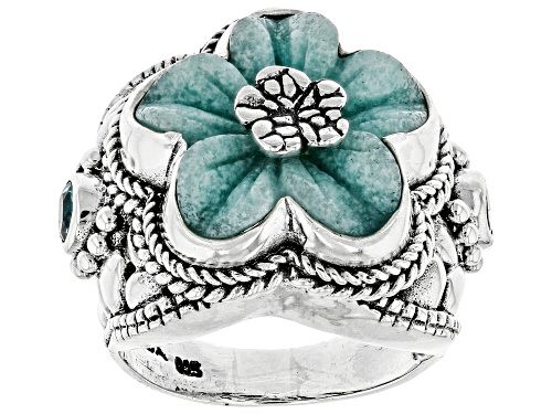 Photo of Artisan Collection Of Bali™ 18mm Carved Quartzite Flower And 0.60ctw Swiss Blue Topaz Silver Ring - Size 12
