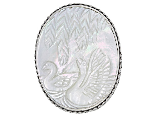 Photo of Artisan Collection Of Bali™ 40x30mm Oval White Carved Mother Of Pearl Swans Silver Ring - Size 7