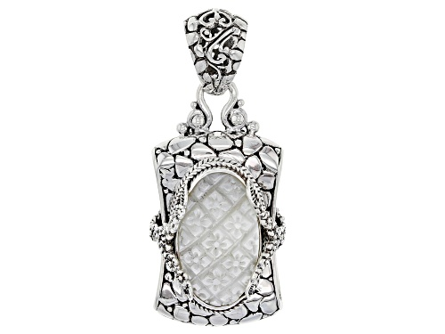 Photo of Artisan Collection Of Bali™ Oval Carved White Mother Of Pearl Flowers Silver Pendant