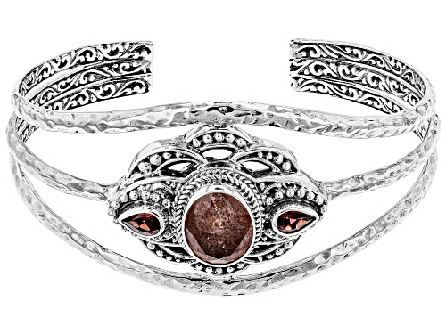 Photo of Artisan Collection Of Bali™ 3.57ct Strawberry  Quartz And 0.86ctw Red Garnet Silver Cuff Bracelet