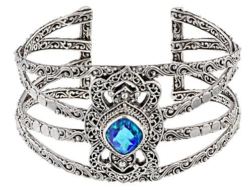 Photo of Artisan Collection Of Bali™ 7.40ct Rainbow Paraiba Color Quartz Triplet Silver Cuff Bracelet - Size 7