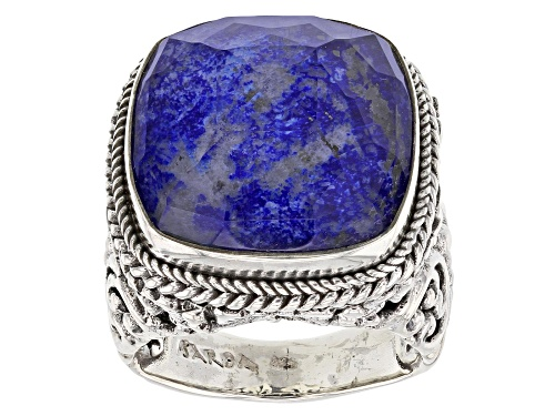 Photo of Artisan Collection Of Bali™ 18mm Square Cushion Lapis Lazuli Doublet Silver Solitaire Ring - Size 6