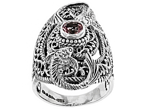 Photo of Artisan Collection Of Bali™ 0.51ct Round Pale Plum™ Mystic Topaz® Silver Solitaire Koi Fish Ring - Size 6