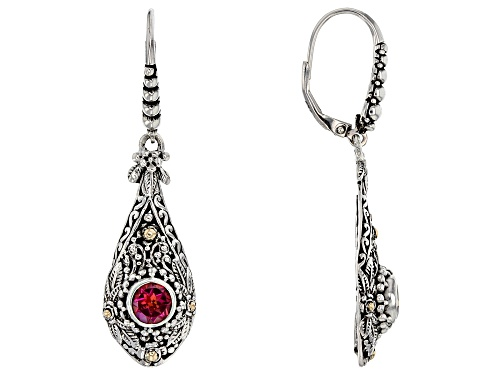 Photo of Artisan Collection Of Bali™ 1.74ctw 6mm Round Blessed™ Mystic Topaz® Silver & 18k Gold Earrings