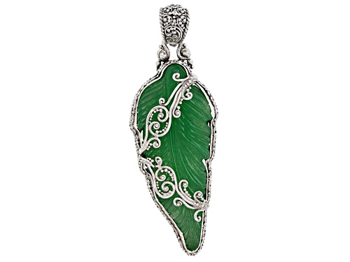 Photo of Artisan Collection Of Bali™ Carved Green Quartz Leaf Sterling Silver Pendant