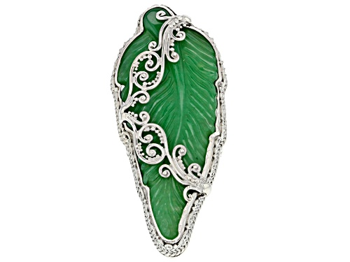 Photo of Artisan Collection Of Bali™ Carved Green Quartz Leaf Sterling Silver Ring - Size 7