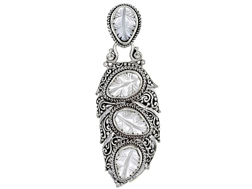 Photo of Artisan Collection Of Bali™ 11x8mm Pear Shape Carved Mother Of Pearl Leaf Silver Pendant