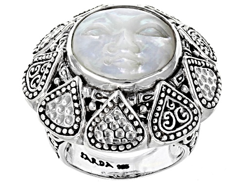 Photo of Artisan Collection Of Bali™ 26mm Round Carved Mother Of Pearl Face Sterling Silver Ring - Size 6