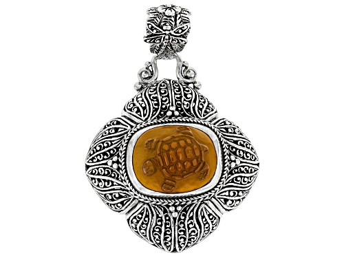 Photo of Artisan Collection Of Bali™ 19x14mm Rectangular Cushion Carved Carnelian Turtle Silver Pendant