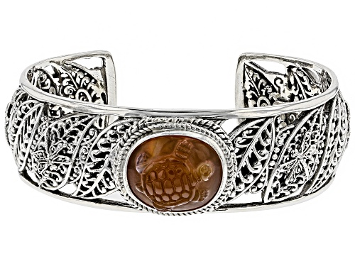Photo of Artisan Collection Of Bali™ 19x14mm Oval Carved Carnelian Turtle Silver Bracelet - Size 6.5