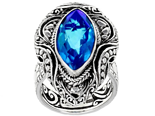 Photo of Artisan Collection Of Bali™ Rainbow Paraiba Color Caribbean Quartz Triplet Silver Ring - Size 7