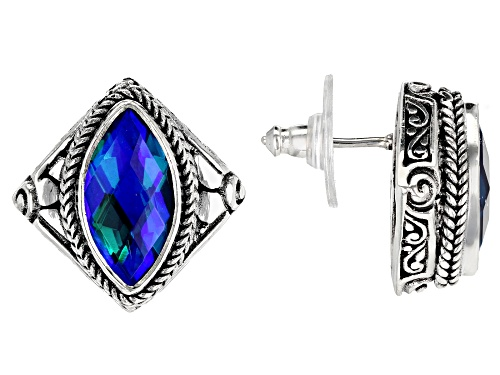 Photo of Artisan Collection Of Bali™ Rainbow Paraiba Color Caribbean Quartz Triplet Silver Stud Earrings