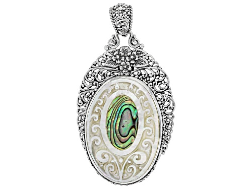 Artisan Collection Of Bali™ 40x30mm Carved Mother Of Pearl With Inlaid Paua Shell Silver Pendant