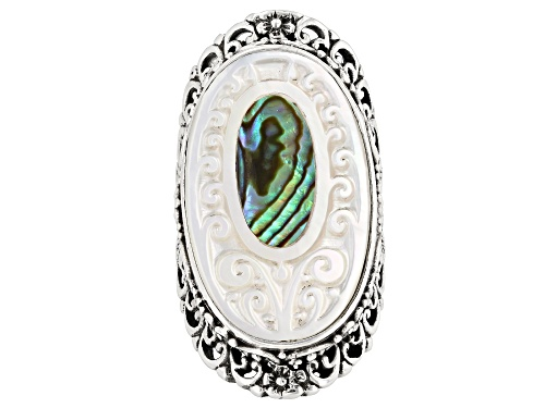 Photo of Artisan Collection Of Bali™ 28x17mm Carved Mother Of Pearl With Inlaid Paua Shell Ring - Size 7