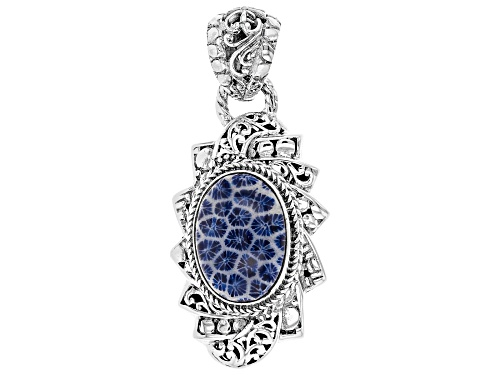 Photo of Artisan Collection Of Bali™ 18x11mm Oval Blue Indonesian Coral Sterling Silver Pendant