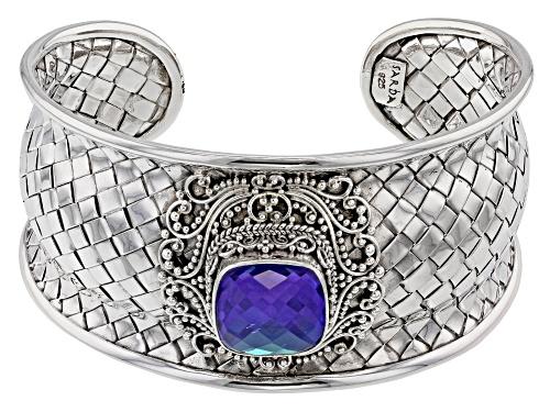 Photo of Artisan Collection Of Bali™ Rainbow Tanzanite Blue Color Quartz Triplet Silver Cuff Bracelet - Size 7.5