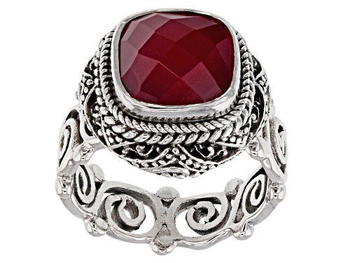 Photo of Artisan Collection Of Bali™ 10mm Square Cushion Red Fuchsia Chalcedony Solitaire Silver Ring - Size 12