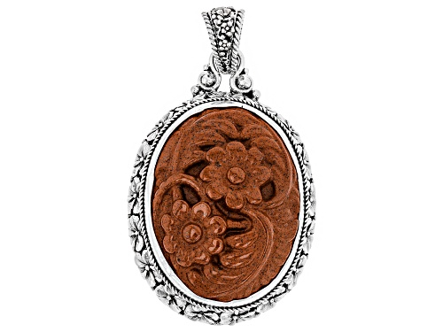 Photo of Artisan Collection Of Bali™ 40x30mm Oval Carved Red Jasper Floral Solitaire Silver Pendant