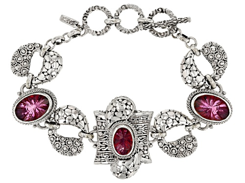 Photo of Artisan Collection of Bali™ 15.34ctw Elegant Rose™ Mystic Quartz® Silver Bracelet - Size 7.5