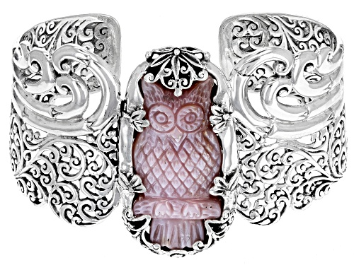 Photo of Artisan Collection of Bali™ Carved Pink Mother Of Pearl Owl Solitaire Sterling Silver Cuff Bracelet