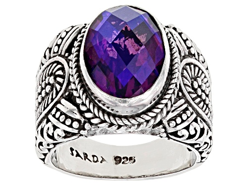 Photo of Artisan Collection of Bali™ 14x10mm Oval Rainbow Purple Majestic Quartz Triplet Silver Ring - Size 6