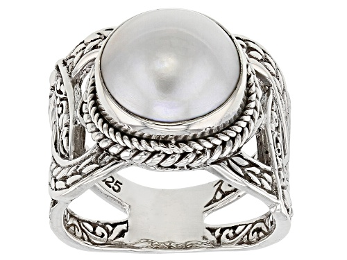 Photo of Artisan Collection Of Bali™ 12mm Round Cultured White Mabe Pearl Solitaire Silver Band Ring - Size 12